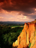 Red Ochre Cliffs Beneath Stormy Sky  Roussillon  Provence-Alpes-Cote d'Azur  France