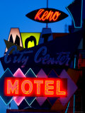 City Center Motel Sign at Dusk  Reno  Nevada