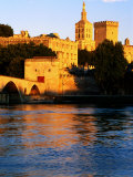 Rhone River and Palais des Papes at Sunset  Avignon  Provence-Alpes-Cote d'Azur  France