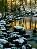 River Rathay at Grasmere with Winter Snow on Rocks  Lake District National Park  Cumbria  England