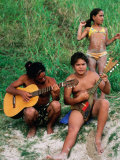 Islanders Playing Music at Anakena Beach  Easter Island  Valparaiso  Chile