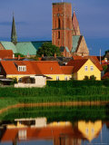 Ribe Domkirke and Town Buildings Reflected in Water  Ribe  Denmark