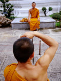 Buddhist Monks Taking Photos  Wat Pho  Bangkok  Thailand