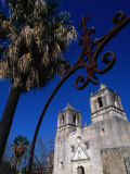 Mission Conception through Wrought Iron Gate  San Antonio  Texas