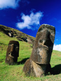 Moai on Side of Volcano  Easter Island  Valparaiso  Chile