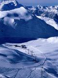 Ski Slopes and Frozen Lac des Vaux  Verbier  Valais  Switzerland