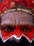 Man in Headdress with Painted Face at Sing-Sing  Mt Hagen  Western Highlands  Papua New Guinea