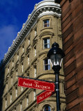 Street Sign at Place d&#39;Armes  Montreal  Quebec  Canada