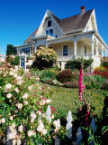 Historic House with Garden Flowers in Foreground  Mendocino  California