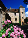 Flower Filled Village Street  Lot Region  Loubressac  Midi-Pyrenees  France