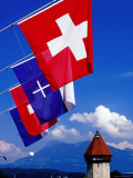 Canton Flags with Balloon in Distance at Kapellbrucke  Lucerne  Lucerne  Switzerland