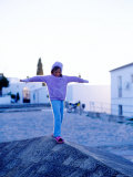 Girl Balancing on Edge  Caceres  Extremadura  Spain