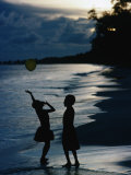 Young Girls Playing with a Balloon on Kiriwina Island  Kiriwina Island  Milne Bay  Papua New Guinea