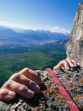 Climbers Hands Holding Onto Rock Ledge  Alberta  Canada