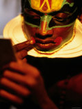 Kathakali Dancer Applying Make-Up  Kochi  Kerala  India