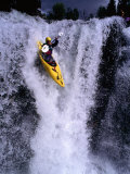 Kayak Flying over Fall One on Store Ula River  Oppland  Norway