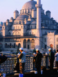 Fishermen on Galata Bridge with Mosque in Background  Istanbul  Turkey