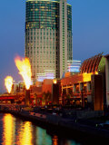 Crown Casino with Riverside Flame Display  Melbourne  Victoria  Australia