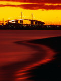 Westgate Bridge at Sunset from Middle Park  Melbourne  Victoria  Australia