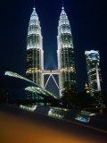Petronas Towers at Night Reflected Off a Car Hood  Kuala Lumpur  Wilayah Persekutuan  Malaysia