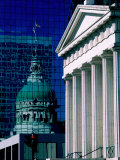 Old Courthouse and Historic Dome Reflected in Modern Building  St Louis  Missouri