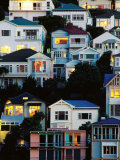 Tiered Bungalows and Villas at Oriental Bay  Wellington  New Zealand