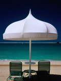 Chairs and Umbrella at Jumeirah Beach  Ritz Carlton Hotel  Dubai  United Arab Emirates
