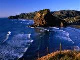 Coastline at Piha Dominated by Lion Rock  New Zealand
