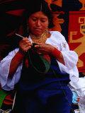 Otavaleno Indian Woman Crocheting a Bag on Poncho Plaza in Otavalo  Otavalo  Imbabura  Ecuador