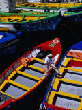 Colourful Boat in Harbour  Valparaiso  Chile