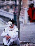 Character from Commedia Dell'Arte in Pierrot Mask  Venice  Italy