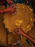 People Collecting Rice Seed from Plate During the Royal Ploughing Ceremony  Phnom Penh  Cambodia