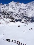 Trekkers in Line Near Annapurna Base Camp  Machhapuchhare  Gandaki  Nepal