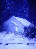 Small  Snow Covered Cabin in Yosemite  California