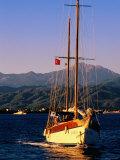 Yacht Cruising with Sails Down  Fethiye  Mugla  Turkey