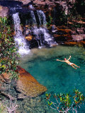 Man Relaxing in Pool at Base of Pacheco Falls  Quebrada Pacheco  Bolivar  Venezuela