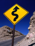 Sign Warning of a Curvy Road  Near the Artist's Palette  Nevada
