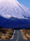 Road Leading Up to Snow-Covered Mount Ngauruhoe  Tongariro National Park  New Zealand