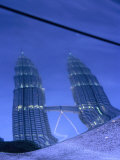 Petronas Towers at Dusk Reflected Off a Car Hood  Kuala Lumpur  Wilayah Persekutuan  Malaysia