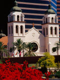 St Mary's Basilica with Arizona Center Tower Behind  Phoenix  Arizona