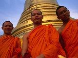 Monks in Front of the Golden Mount  Wat Saket  Bangkok  Bangkok  Thailand