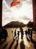 People Under Arc de Triomphe and French Tricolour Flag  Paris  Ile-De-France  France