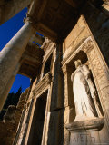 Statue in Library of Celsus from Greek and Roman Eras  Ephesus  Izmir  Turkey