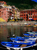 Harbour Boats on Ligurian Sea and Waterfront Buildings  Vernazza  Liguria  Italy