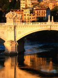 Ponte Vittorio Emanuele II Reflected in Tiber River at Sunrise  Rome  Italy