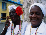 Black Women in White Clothing Pose for Tourists  Havana  Cuba