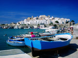 Harbour Boats with Citadel in Background  Castellon de la Plana  Valencia  Spain