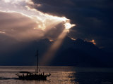 Yacht on Mediterranean with Mountain Backdrop and Storm Clouds  Antalya  Antalya  Turkey