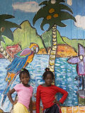 Girls in Front of Mural  Paradise Beach  Carriacou and Petit Martinique  Grenada