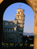 Leaning Tower Framed by Arch  Pisa  Tuscany  Italy